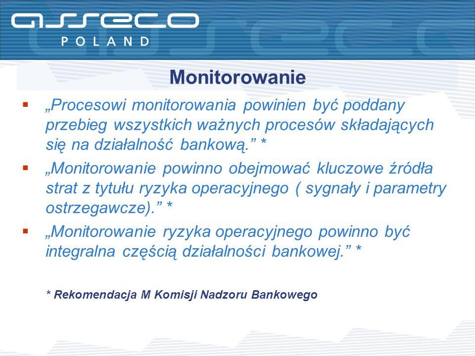 Monitorowanie Procesowi monitorowania powinien być poddany przebieg wszystkich ważnych procesów składających się na działalność bankową. * Monitorowan