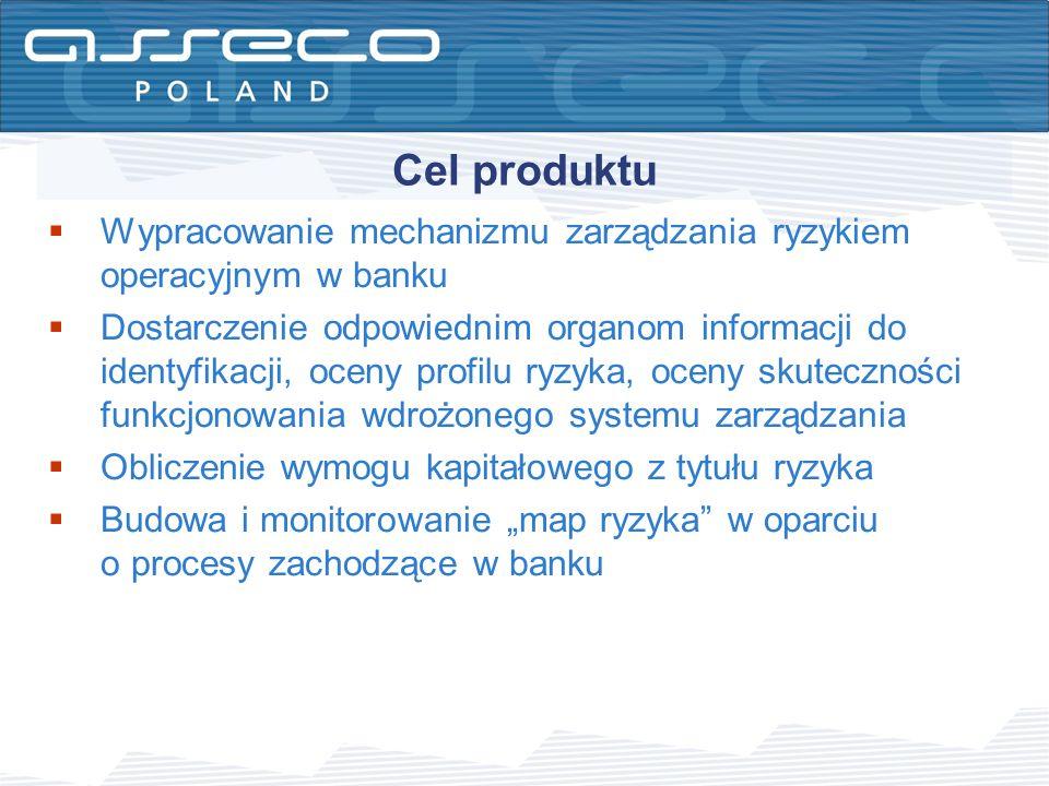 Cel produktu Wypracowanie mechanizmu zarządzania ryzykiem operacyjnym w banku Dostarczenie odpowiednim organom informacji do identyfikacji, oceny prof