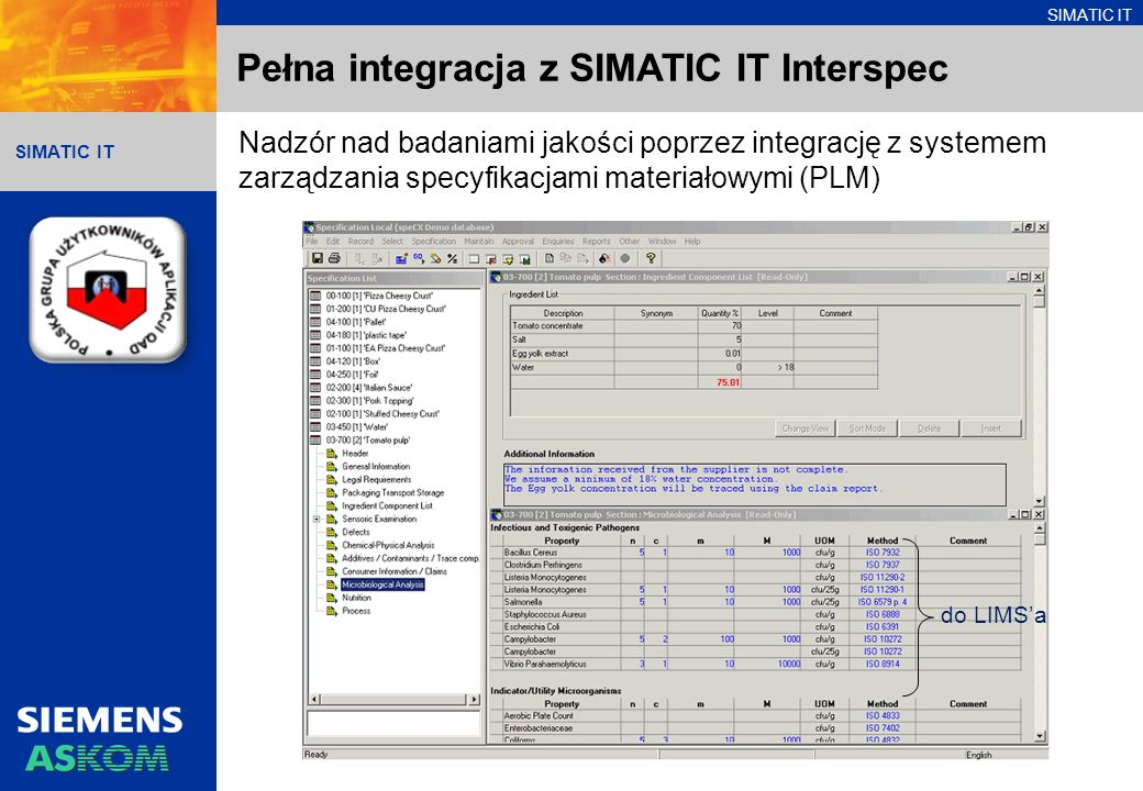 SIMATIC IT Pełna integracja z SIMATIC IT Production Suite SIMATIC Batch Uruch.