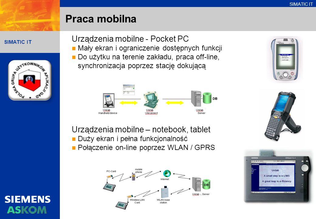 SIMATIC IT Praca mobilna Urządzenia mobilne - Pocket PC Mały ekran i ograniczenie dostępnych funkcji Do użytku na terenie zakładu, praca off-line, synchronizacja poprzez stację dokującą Urządzenia mobilne – notebook, tablet Duży ekran i pełna funkcjonalność Połączenie on-line poprzez WLAN / GPRS