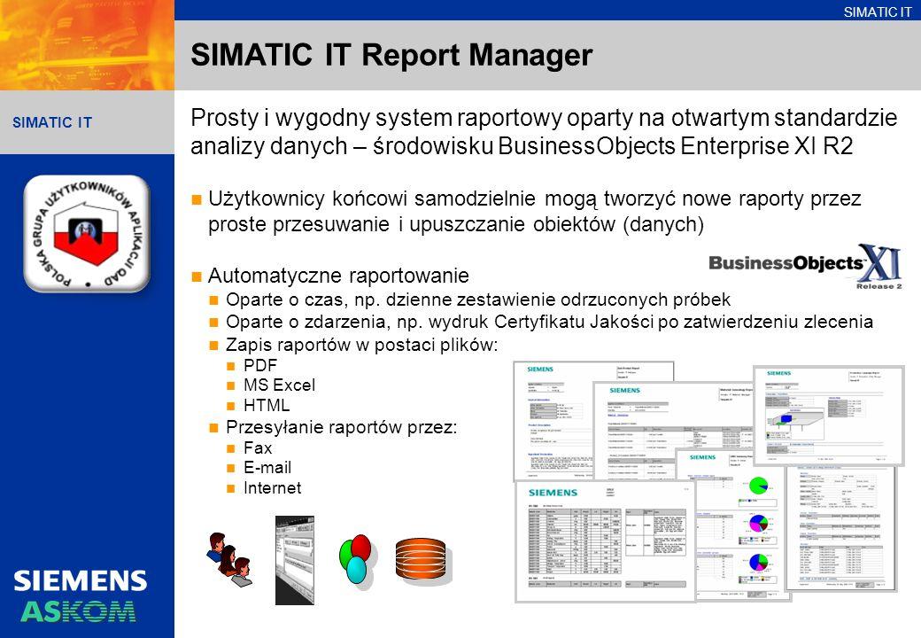 SIMATIC IT Prosty i wygodny system raportowy oparty na otwartym standardzie analizy danych – środowisku BusinessObjects Enterprise XI R2 Użytkownicy końcowi samodzielnie mogą tworzyć nowe raporty przez proste przesuwanie i upuszczanie obiektów (danych) Automatyczne raportowanie Oparte o czas, np.