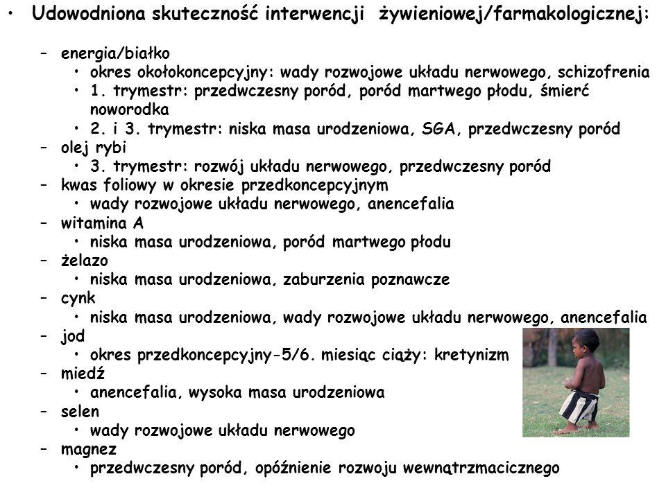 Udowodniona skuteczność interwencji żywieniowej/farmakologicznej: –energia/białko okres okołokoncepcyjny: wady rozwojowe układu nerwowego, schizofreni