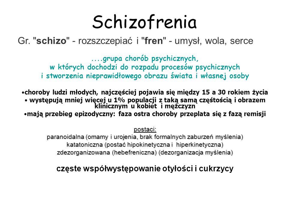 Schizofrenia....grupa chorób psychicznych, w których dochodzi do rozpadu procesów psychicznych i stworzenia nieprawidłowego obrazu świata i własnej os