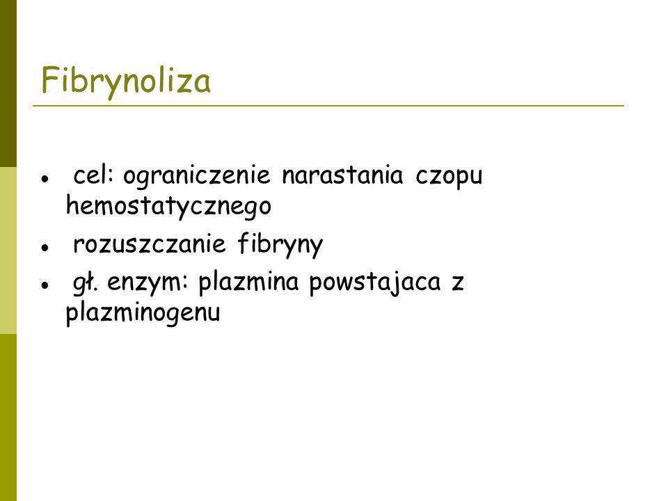 Fibrynoliza cel: ograniczenie narastania czopu hemostatycznego rozuszczanie fibryny gł. enzym: plazmina powstajaca z plazminogenu