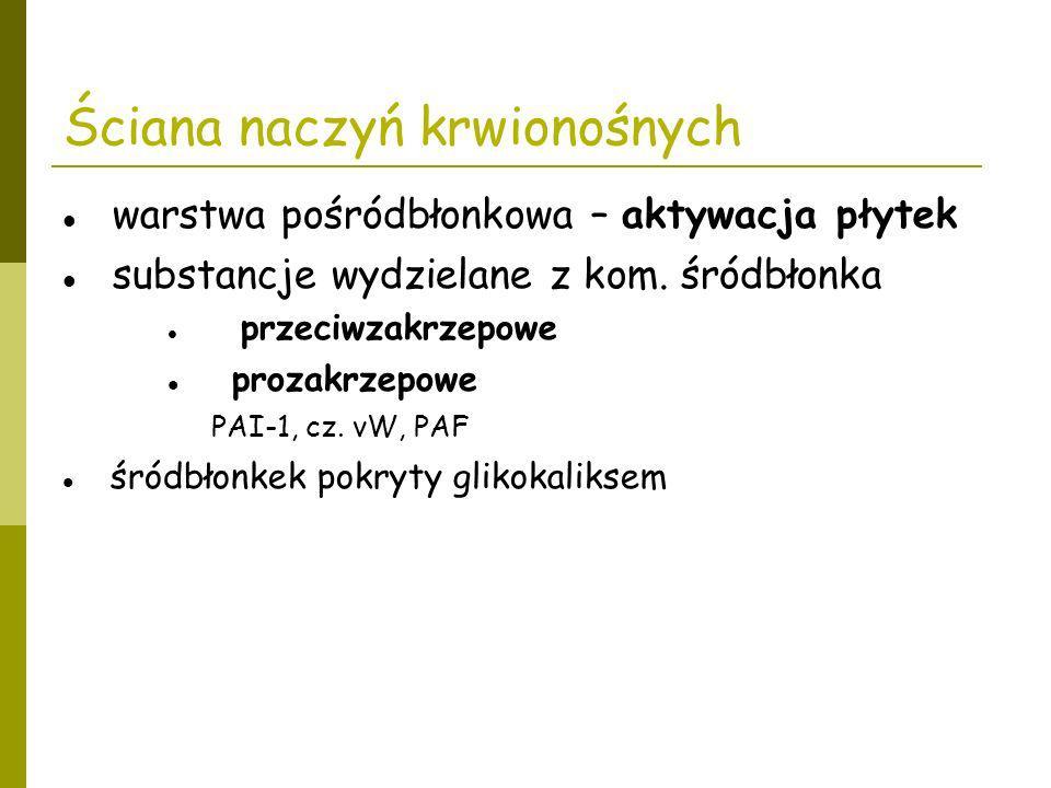 Ściana naczyń krwionośnych warstwa pośródbłonkowa – aktywacja płytek substancje wydzielane z kom. śródbłonka przeciwzakrzepowe prozakrzepowe PAI-1, cz