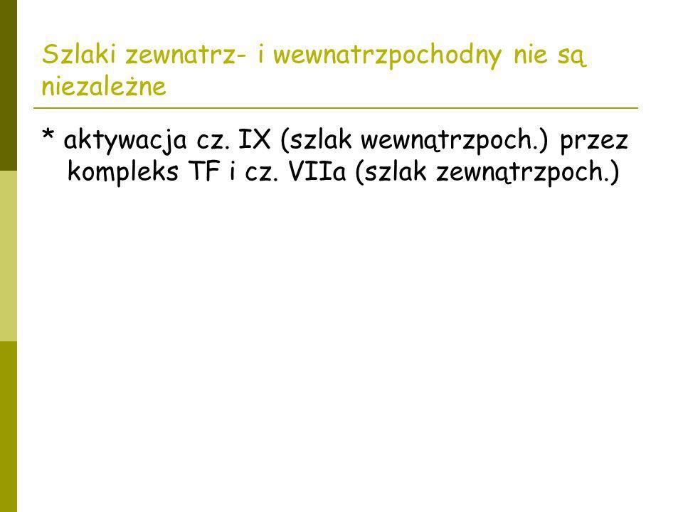 Szlaki zewnatrz- i wewnatrzpochodny nie są niezależne * aktywacja cz. IX (szlak wewnątrzpoch.) przez kompleks TF i cz. VIIa (szlak zewnątrzpoch.)