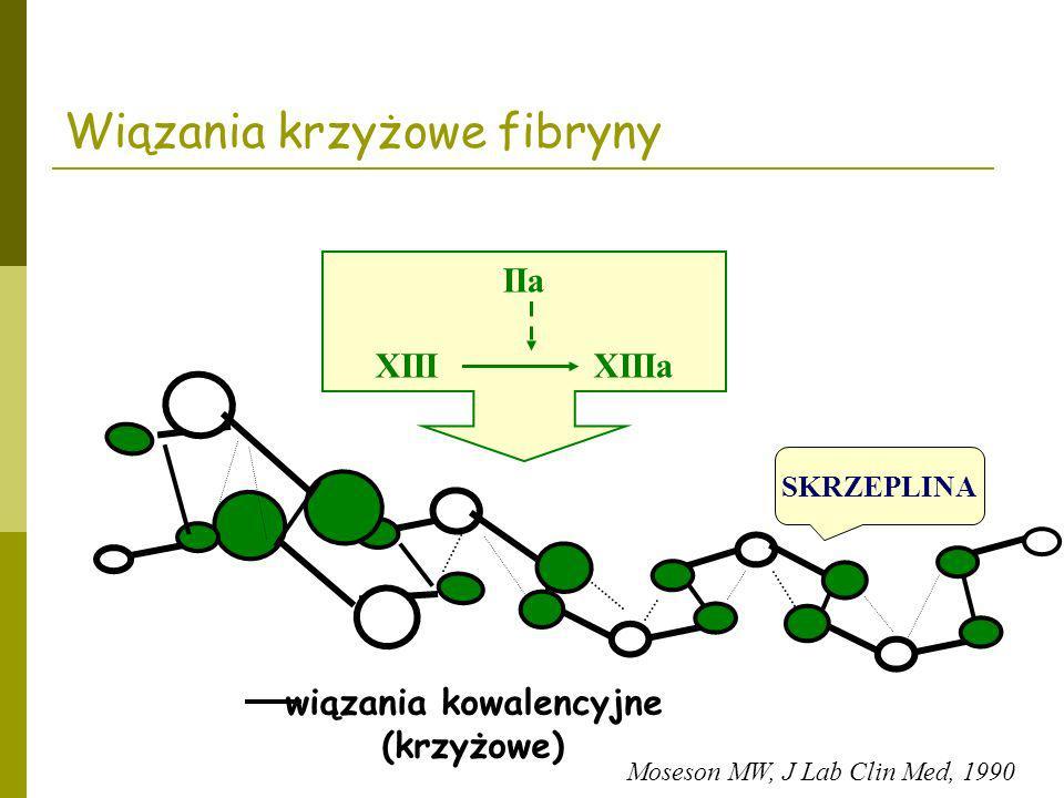 Wiązania krzyżowe fibryny IIa XIII XIIIa wiązania kowalencyjne (krzyżowe) SKRZEPLINA Moseson MW, J Lab Clin Med, 1990