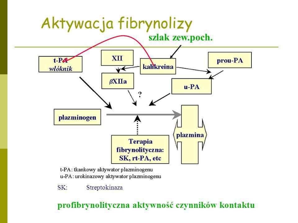 Aktywacja fibrynolizy SK: Streptokinaza profibrynolityczna aktywność czynników kontaktu szlak zew.poch. ?