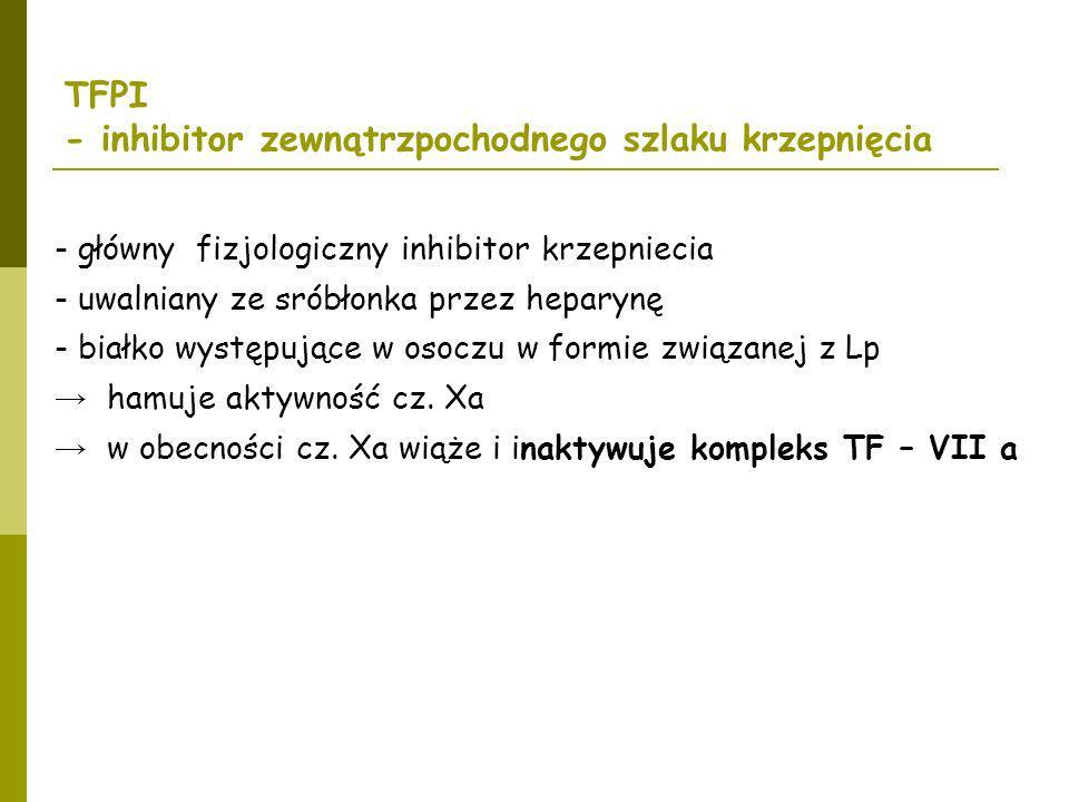 TFPI - inhibitor zewnątrzpochodnego szlaku krzepnięcia - główny fizjologiczny inhibitor krzepniecia - uwalniany ze sróbłonka przez heparynę - białko w
