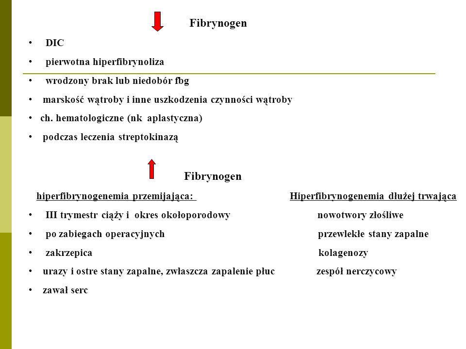 Fibrynogen DIC pierwotna hiperfibrynoliza wrodzony brak lub niedobór fbg marskość wątroby i inne uszkodzenia czynności wątroby ch. hematologiczne (nk