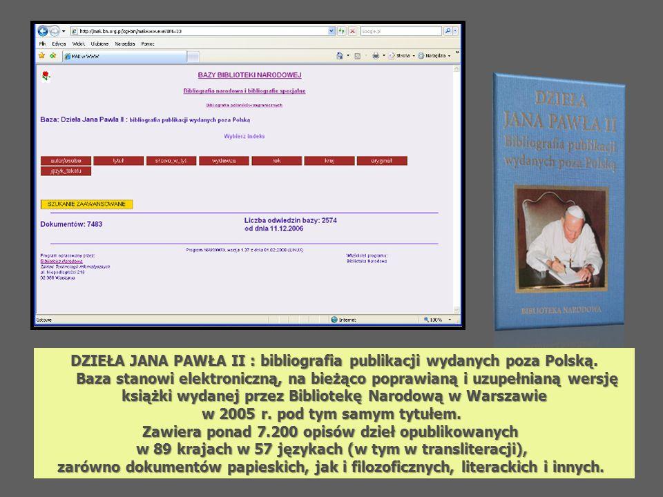 DZIEŁA JANA PAWŁA II : bibliografia publikacji wydanych poza Polską. Baza stanowi elektroniczną, na bieżąco poprawianą i uzupełnianą wersję Baza stano