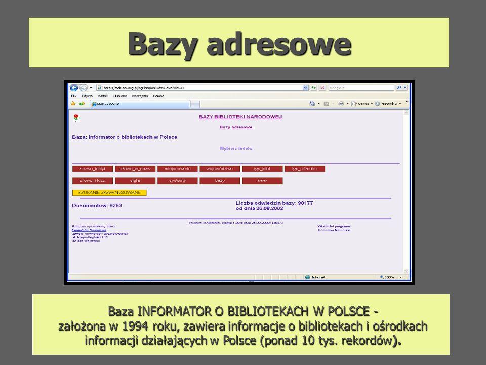 Bazy adresowe Baza INFORMATOR O BIBLIOTEKACH W POLSCE - założona w 1994 roku, zawiera informacje o bibliotekach i ośrodkach informacji działających w