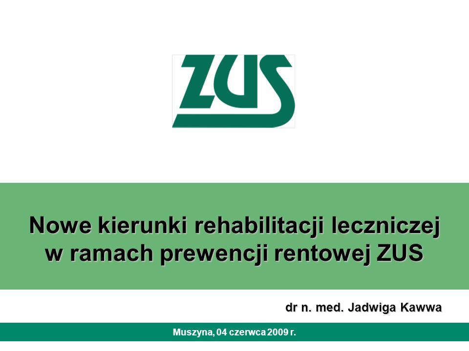 Nowe kierunki rehabilitacji leczniczej w ramach prewencji rentowej ZUS Muszyna, 04 czerwca 2009 r. dr n. med. Jadwiga Kawwa