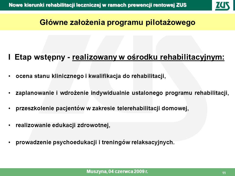11 Główne założenia programu pilotażowego I Etap wstępny - realizowany w ośrodku rehabilitacyjnym: ocena stanu klinicznego i kwalifikacja do rehabilit