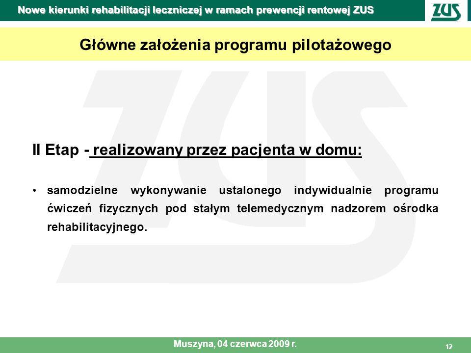 12 Główne założenia programu pilotażowego II Etap - realizowany przez pacjenta w domu: samodzielne wykonywanie ustalonego indywidualnie programu ćwicz