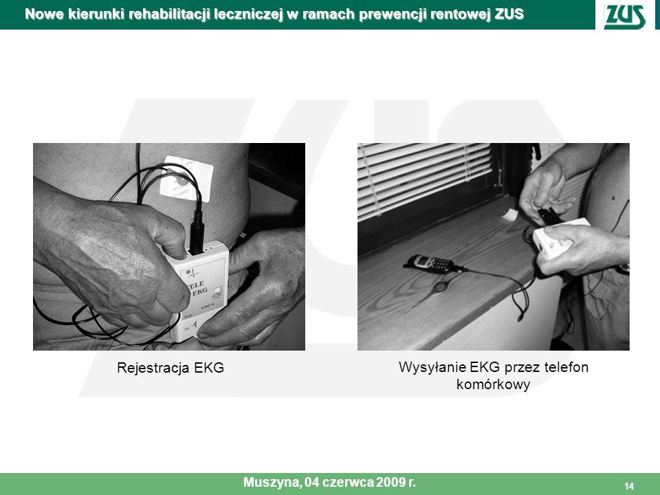 14 Rejestracja EKG Wysyłanie EKG przez telefon komórkowy Nowe kierunki rehabilitacji leczniczej w ramach prewencji rentowej ZUS Muszyna, 04 czerwca 20