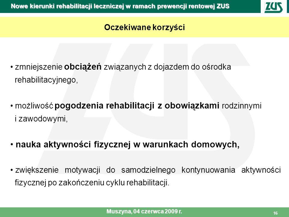 16 Oczekiwane korzyści zmniejszenie obciążeń związanych z dojazdem do ośrodka rehabilitacyjnego, możliwość pogodzenia rehabilitacji z obowiązkami rodz