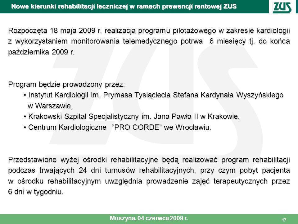 17 Rozpoczęta 18 maja 2009 r. realizacja programu pilotażowego w zakresie kardiologii z wykorzystaniem monitorowania telemedycznego potrwa 6 miesięcy
