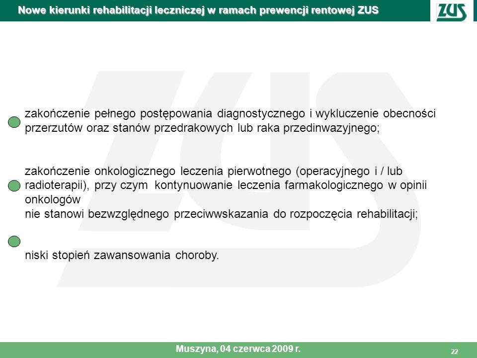 22 Nowe kierunki rehabilitacji leczniczej w ramach prewencji rentowej ZUS Muszyna, 04 czerwca 2009 r. zakończenie pełnego postępowania diagnostycznego