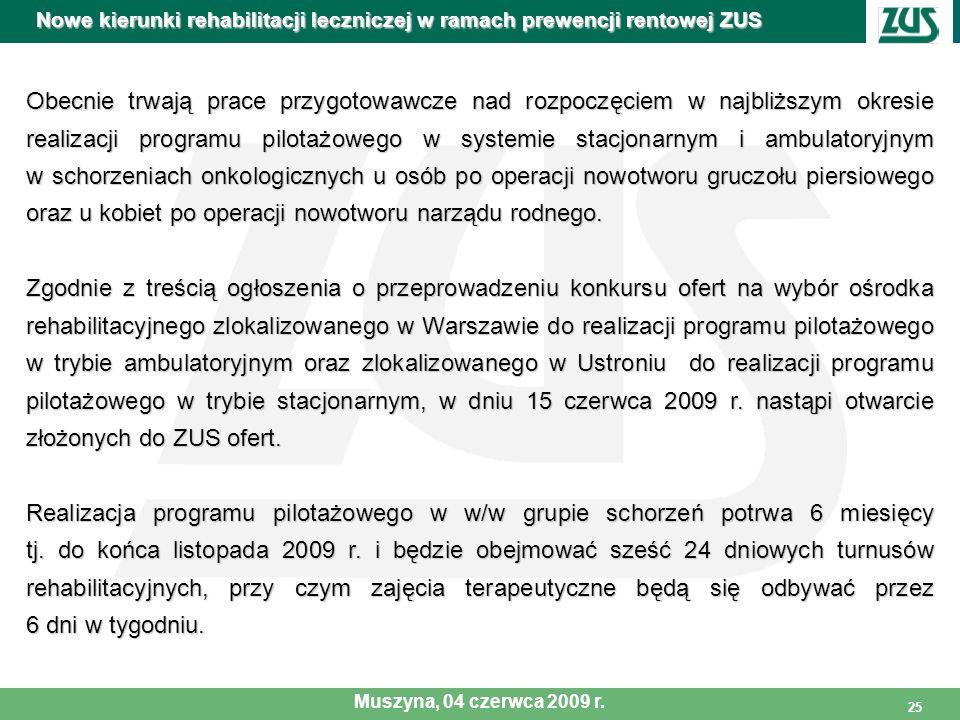 25 Obecnie trwają prace przygotowawcze nad rozpoczęciem w najbliższym okresie realizacji programu pilotażowego w systemie stacjonarnym i ambulatoryjny