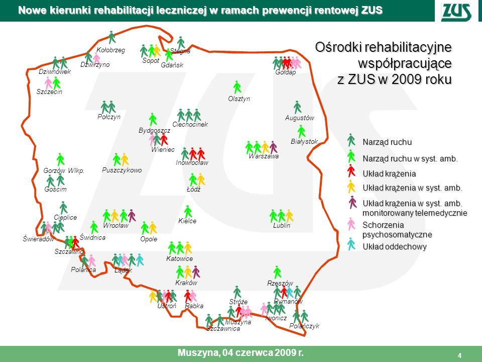 4 Ośrodki rehabilitacyjne współpracujące z ZUS w 2009 roku Gołdap Połczyn Olsztyn Układ oddechowy Układ krążenia Narząd ruchu Narząd ruchu w syst. amb