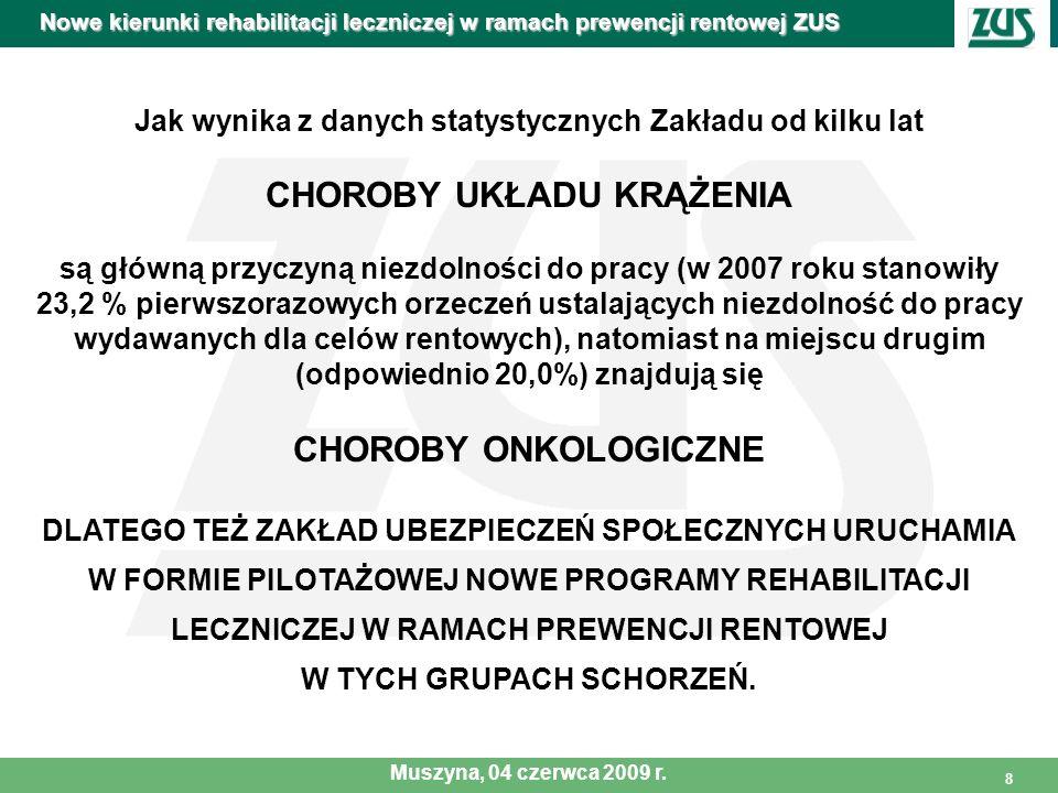 9 PILOTAŻOWY PROGRAM REHABILITACJI LECZNICZEJ W SCHORZENIACH UKŁADU KRĄŻENIA W SYSTEMIE AMBULATORYJNYM Z MONITOROWANĄ TELEMEDYCZNIE REHABILITACJĄ W WARUNKACH DOMOWYCH Nowe kierunki rehabilitacji leczniczej w ramach prewencji rentowej ZUS Muszyna, 04 czerwca 2009 r.