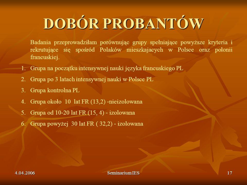 4.04.2006Seminarium IES17 DOBÓR PROBANTÓW Badania przeprowadziłam porównując grupy spełniające powyższe kryteria i rekrutujące się spośród Polaków mie