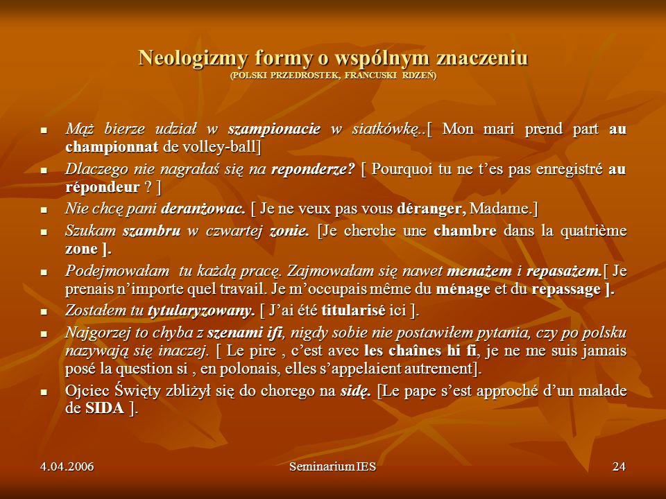 4.04.2006Seminarium IES24 Neologizmy formy o wspólnym znaczeniu (POLSKI PRZEDROSTEK, FRANCUSKI RDZEŃ) Mąż bierze udział w szampionacie w siatkówkę..[