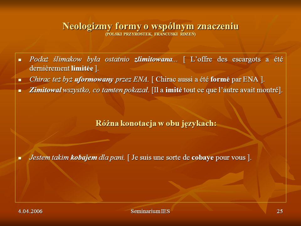 4.04.2006Seminarium IES25 Neologizmy formy o wspólnym znaczeniu (POLSKI PRZYROSTEK, FRANCUSKI RDZEŃ) Podaż ślimakow była ostatnio zlimitowana... [ Lof