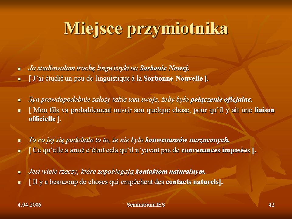 4.04.2006Seminarium IES42 Miejsce przymiotnika Ja studiowałam trochę lingwistyki na Sorbonie Nowej. Ja studiowałam trochę lingwistyki na Sorbonie Nowe