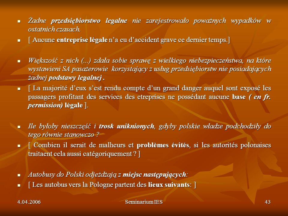 4.04.2006Seminarium IES43 Żadne przedsiębiorstwo legalne nie zarejestrowało poważnych wypadków w ostatnich czasach. Żadne przedsiębiorstwo legalne nie