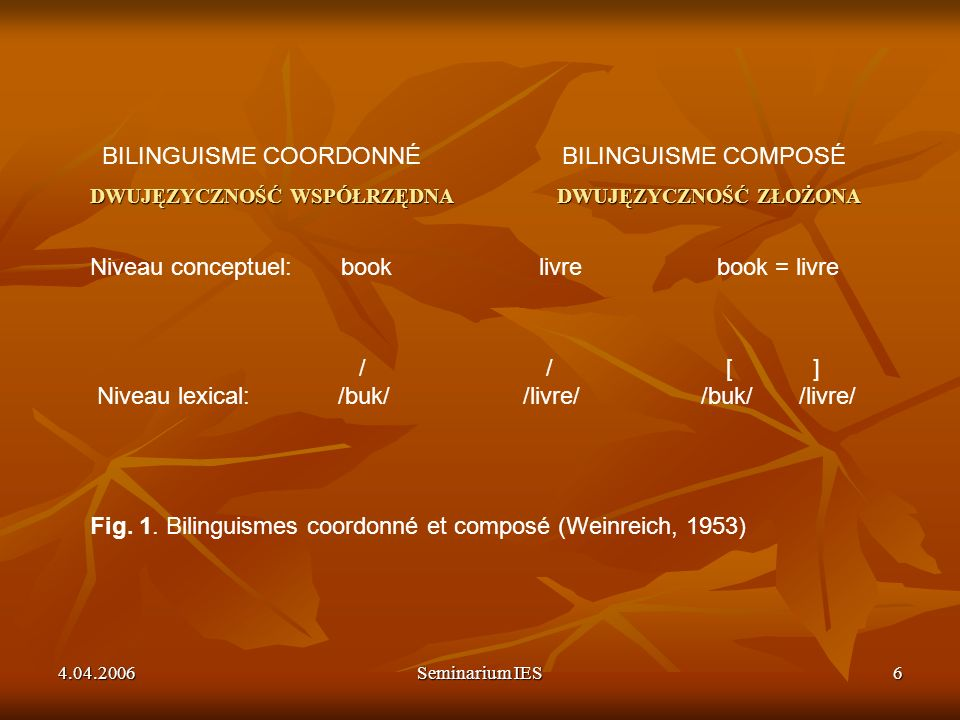 4.04.2006Seminarium IES7 Typy dwujęzyczności W zależności od osiągniętej w obu językach kompetencji: DWUJĘZYCZNOŚĆ ZRÓWNOWAŻONA: KOMPETENCJA W KOMPETENCJA W DWUJĘZYCZNOŚĆ DOMINUJĄCA: KOMPETENCJA W KOMPETENCJA W W zależności od osiągniętej w obu językach kompetencji: DWUJĘZYCZNOŚĆ ZRÓWNOWAŻONA: KOMPETENCJA W L1 – KOMPETENCJA W L2 DWUJĘZYCZNOŚĆ DOMINUJĄCA: KOMPETENCJA W L1 > KOMPETENCJA W L2