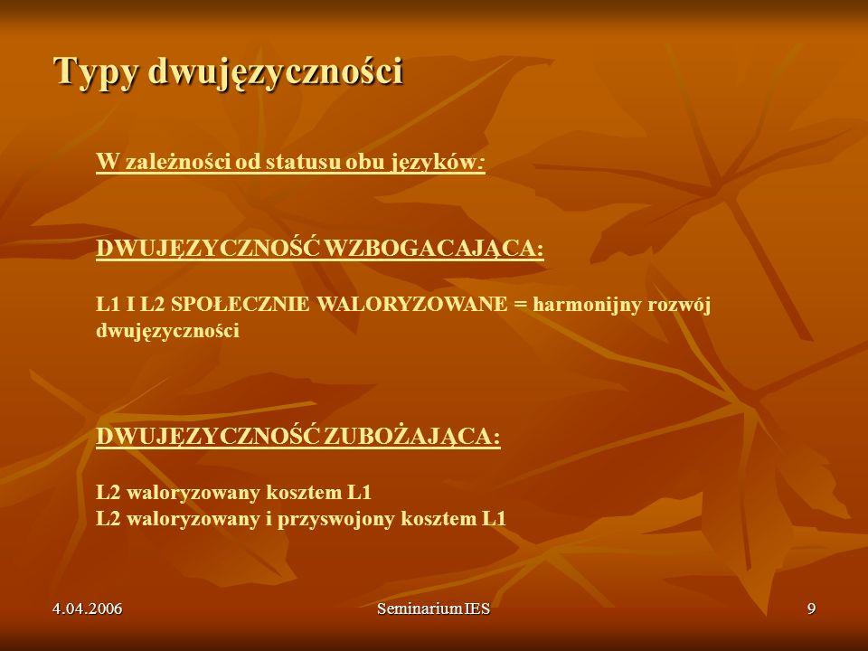4.04.2006Seminarium IES10 Typy dwujęzyczności W zależności od przynależności i tożsamości kulkurowej: DWUKULTUROWA DWUJĘZYCZNOŚĆ podwójna przynależność kulturowa i dwukulturowa tożsamość DWUJĘZYCZNOŚĆ MONOKULTUROWA przynależność i tożsamość związana z L1 DWUJĘZYCZNOŚĆ AKULTUROWA W L2 przynależność kulturowa związana z L2, tożsamość poprzez L2 DWUJĘZYCZNOŚĆ ANOMICZNA wahanie co do przynależność kulturowej, niezdefiniowana tożsamość kulturowa