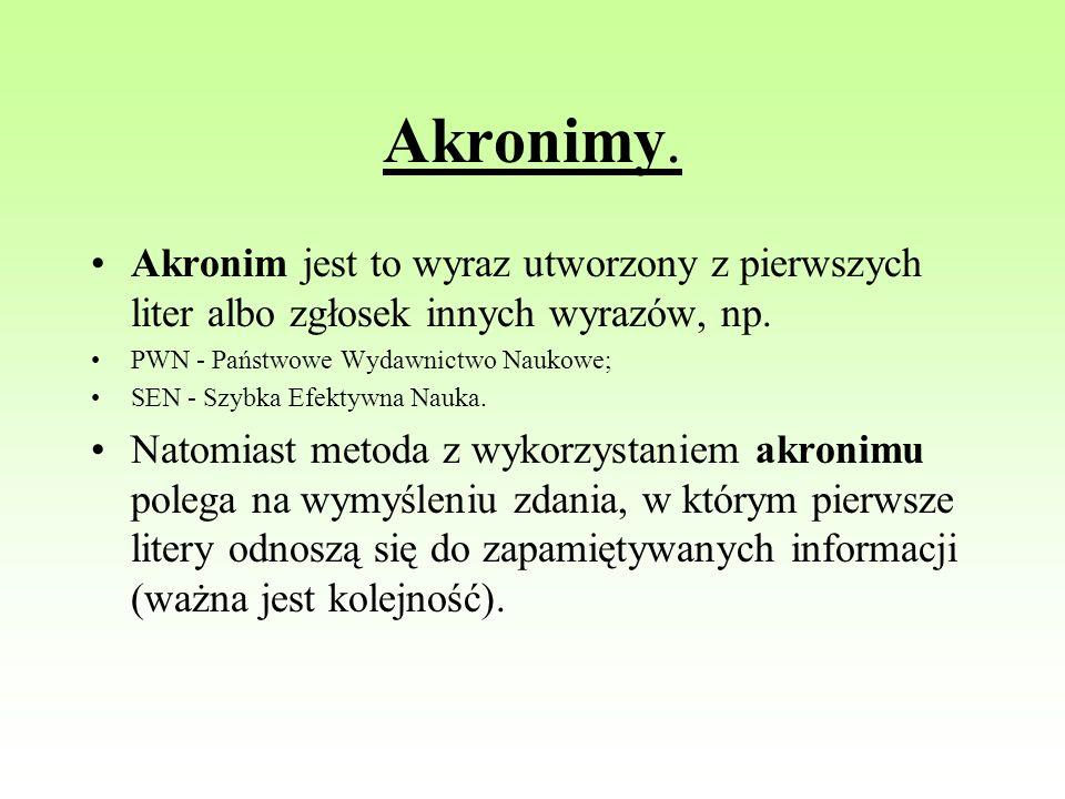 Akronimy. Akronim jest to wyraz utworzony z pierwszych liter albo zgłosek innych wyrazów, np. PWN - Państwowe Wydawnictwo Naukowe; SEN - Szybka Efekty