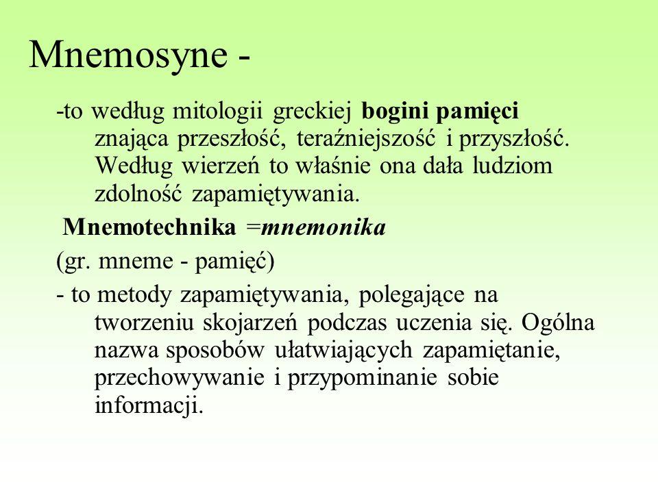 Mnemosyne - -to według mitologii greckiej bogini pamięci znająca przeszłość, teraźniejszość i przyszłość. Według wierzeń to właśnie ona dała ludziom z