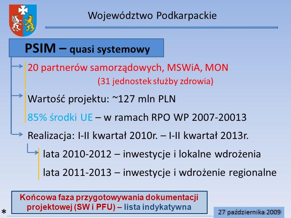 Województwo Podkarpackie PSIM – quasi systemowy 20 partnerów samorządowych, MSWiA, MON (31 jednostek służby zdrowia) Wartość projektu: ~127 mln PLN 85% środki UE – w ramach RPO WP 2007-20013 Realizacja: I-II kwartał 2010r.