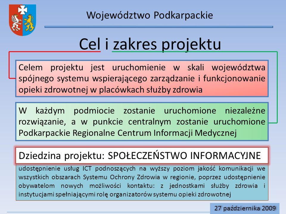 udostępnienie usług ICT podnoszących na wyższy poziom jakość komunikacji we wszystkich obszarach Systemu Ochrony Zdrowia w regionie, poprzez udostępnienie obywatelom nowych możliwości kontaktu: z jednostkami służby zdrowia i instytucjami spełniającymi rolę organizatorów systemu opieki zdrowotnej Województwo Podkarpackie Cel i zakres projektu W każdym podmiocie zostanie uruchomione niezależne rozwiązanie, a w punkcie centralnym zostanie uruchomione Podkarpackie Regionalne Centrum Informacji Medycznej Celem projektu jest uruchomienie w skali województwa spójnego systemu wspierającego zarządzanie i funkcjonowanie opieki zdrowotnej w placówkach służby zdrowia Dziedzina projektu: SPOŁECZEŃSTWO INFORMACYJNE 27 października 2009