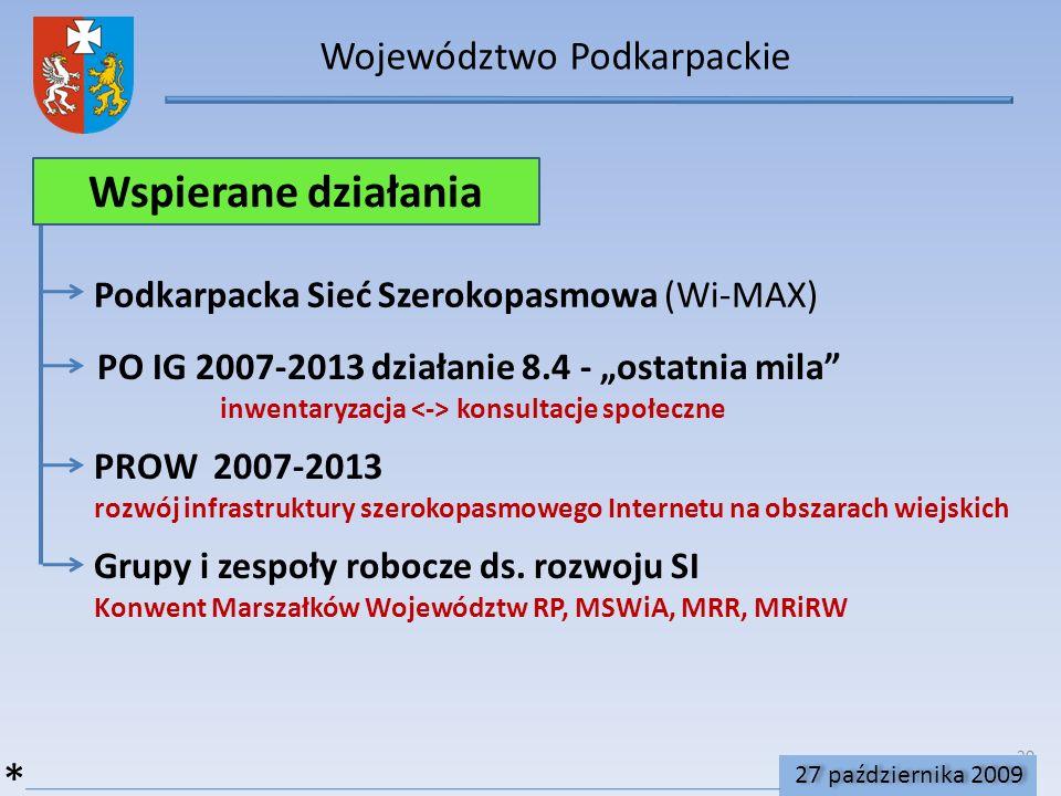 20 Województwo Podkarpackie Wspierane działania PO IG 2007-2013 działanie 8.4 - ostatnia mila inwentaryzacja konsultacje społeczne Podkarpacka Sieć Szerokopasmowa (Wi-MAX) * PROW 2007-2013 rozwój infrastruktury szerokopasmowego Internetu na obszarach wiejskich Grupy i zespoły robocze ds.