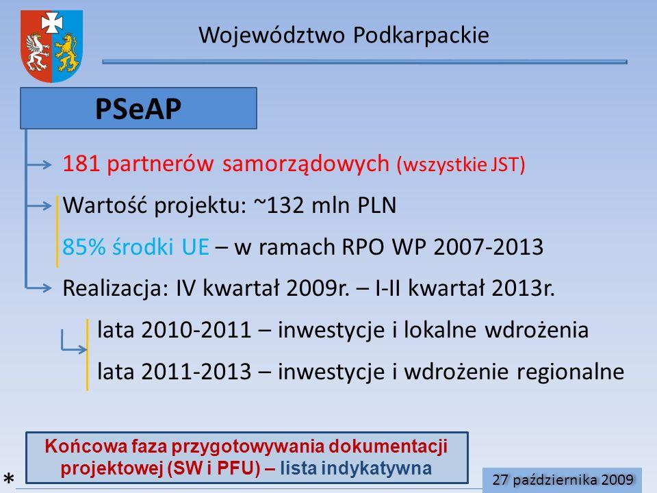 Województwo Podkarpackie PSeAP 181 partnerów samorządowych (wszystkie JST) Wartość projektu: ~132 mln PLN 85% środki UE – w ramach RPO WP 2007-2013 Realizacja: IV kwartał 2009r.