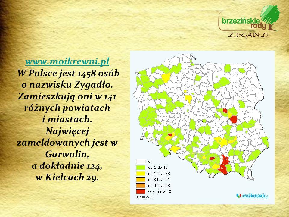 www.moikrewni.pl www.moikrewni.pl W Polsce jest 1458 osób o nazwisku Zygadło. Zamieszkują oni w 141 różnych powiatach i miastach. Najwięcej zameldowan