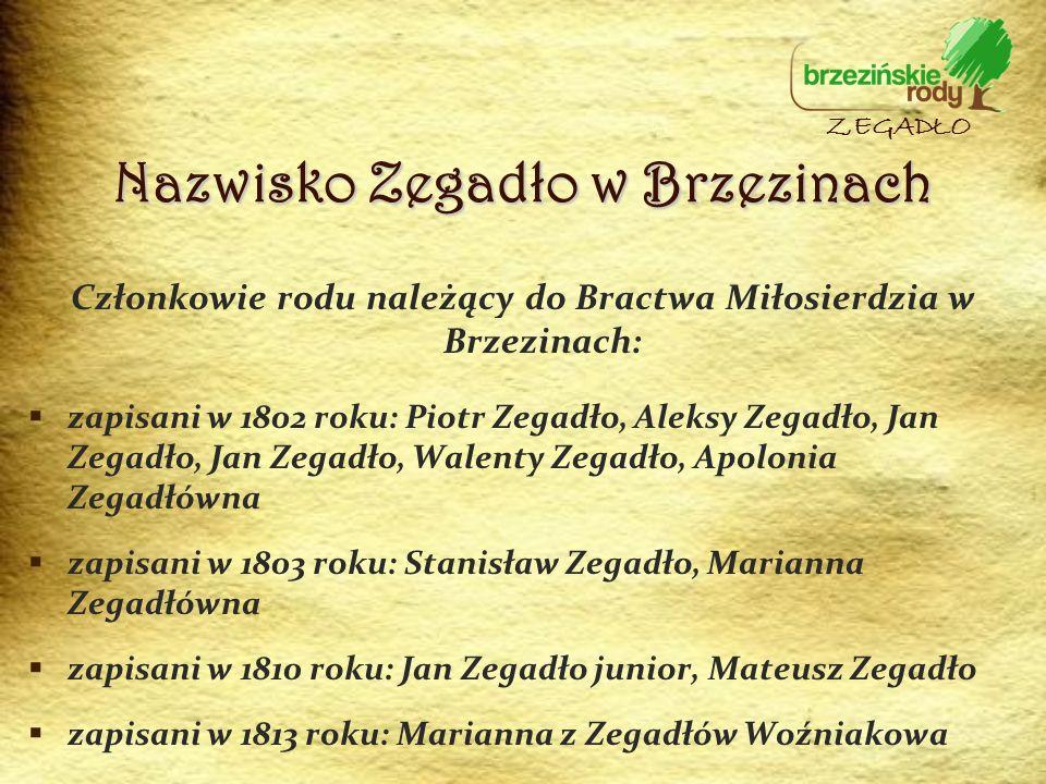 Nazwisko Zegadło w Brzezinach Członkowie rodu należący do Bractwa Miłosierdzia w Brzezinach: zapisani w 1802 roku: Piotr Zegadło, Aleksy Zegadło, Jan