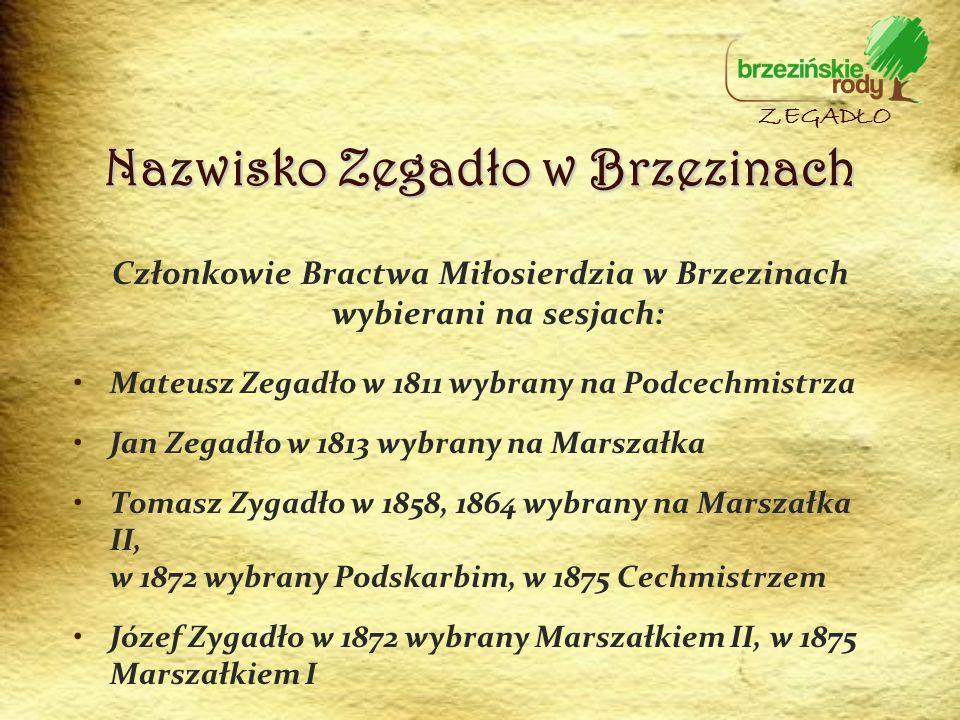 Nazwisko Zegadło w Brzezinach Członkowie Bractwa Miłosierdzia w Brzezinach wybierani na sesjach: Mateusz Zegadło w 1811 wybrany na Podcechmistrza Jan