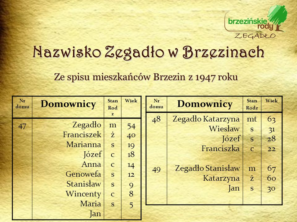 Ze spisu mieszkańców Brzezin z 1947 roku Nr domu Domownicy Stan Rod z Wiek 47Zegadło Franciszek Marianna Józef Anna Genowefa Stanisław Wincenty Maria