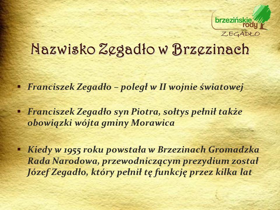 Franciszek Zegadło – poległ w II wojnie światowej Franciszek Zegadło syn Piotra, sołtys pełnił także obowiązki wójta gminy Morawica Kiedy w 1955 roku