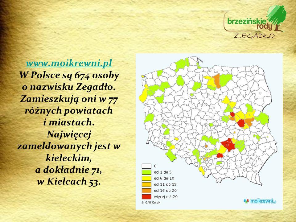 www.moikrewni.pl www.moikrewni.pl W Polsce są 674 osoby o nazwisku Zegadło. Zamieszkują oni w 77 różnych powiatach i miastach. Najwięcej zameldowanych