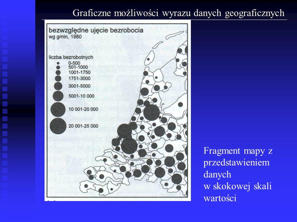 Graficzne możliwości wyrazu danych geograficznych Fragment mapy z przedstawieniem danych w skokowej skali wartości
