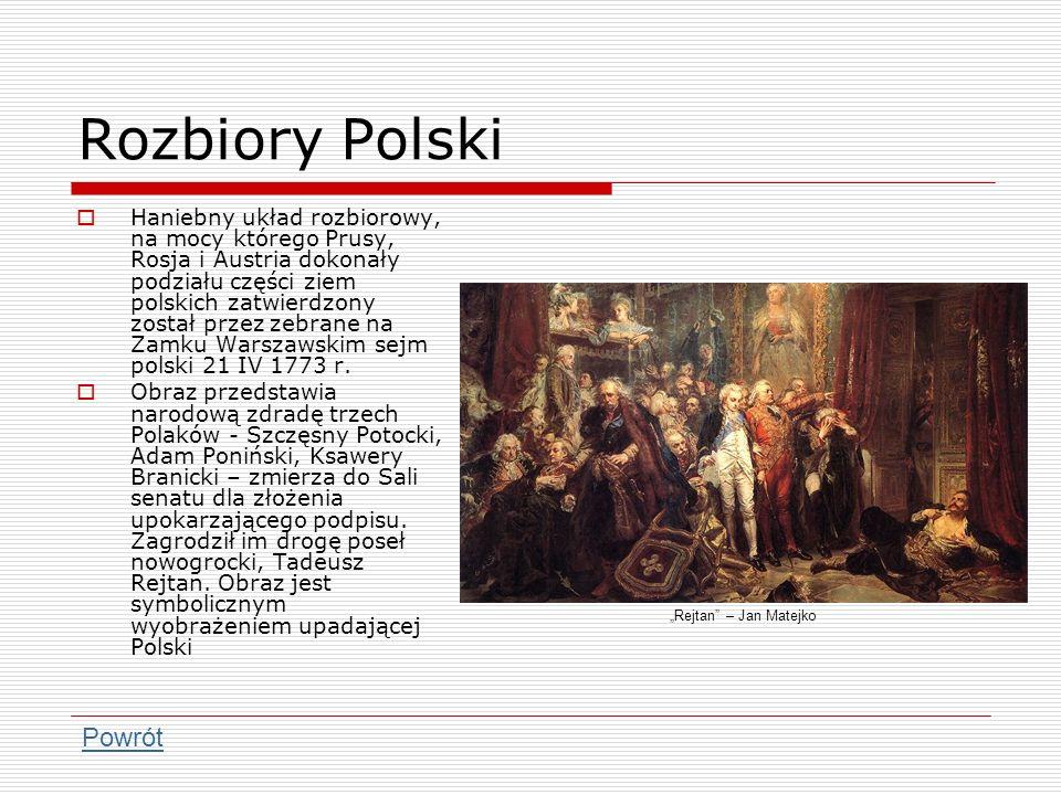 Rozbiory Polski Haniebny układ rozbiorowy, na mocy którego Prusy, Rosja i Austria dokonały podziału części ziem polskich zatwierdzony został przez zeb