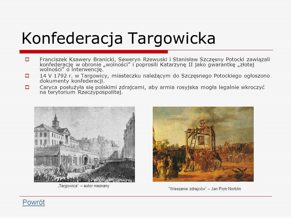 Konfederacja Targowicka Franciszek Ksawery Branicki, Seweryn Rzewuski i Stanisław Szczęsny Potocki zawiązali konfederację w obronie wolności i poprosi
