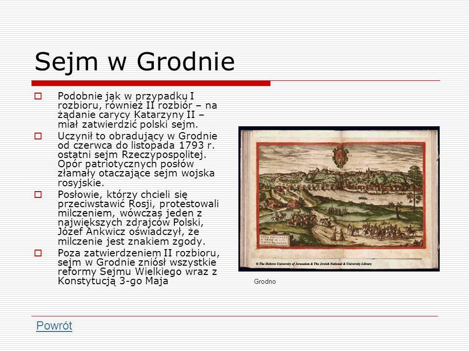 Sejm w Grodnie Podobnie jak w przypadku I rozbioru, również II rozbiór – na żądanie carycy Katarzyny II – miał zatwierdzić polski sejm. Uczynił to obr