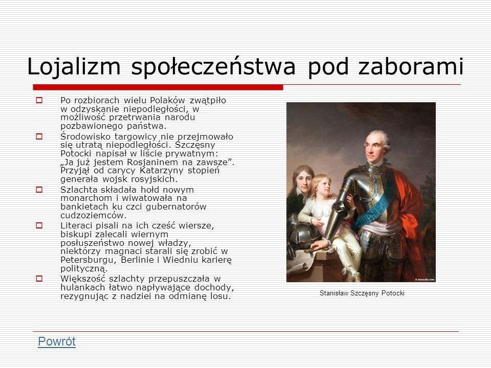 Lojalizm społeczeństwa pod zaborami Po rozbiorach wielu Polaków zwątpiło w odzyskanie niepodległości, w możliwość przetrwania narodu pozbawionego pańs